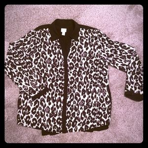 Chico's Black and White Cheetah Blouse, L (size 2)